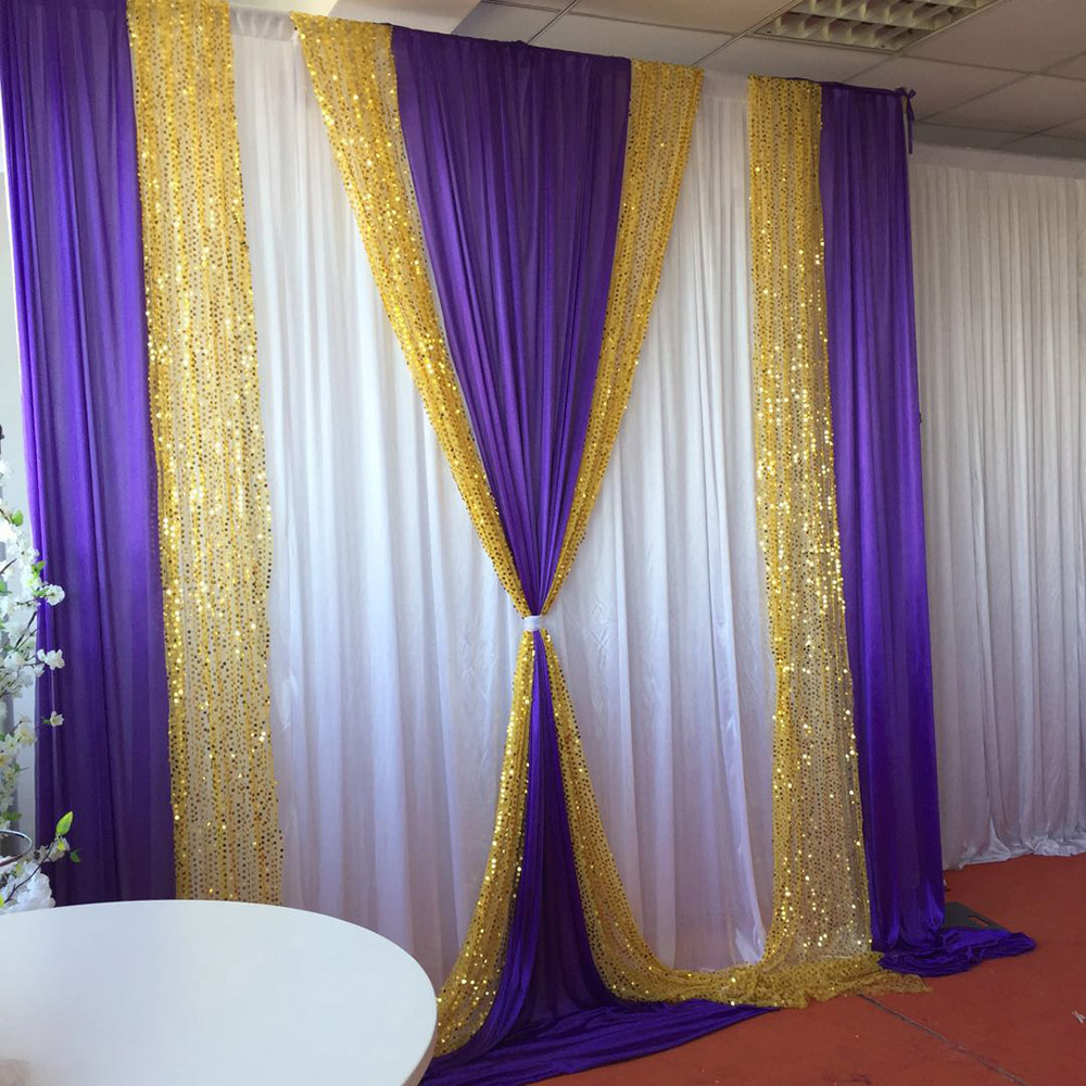 10ft x10ft free shipping white curtain purple ice silk drape gold sequin drape backdrop wedding party decoration