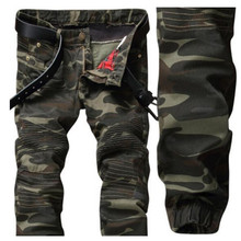 European style 2017 Men's jeans denim trousers, army green jeans camouflage Pencil Pants Slim jeans, Zippers Biker Jeans Men
