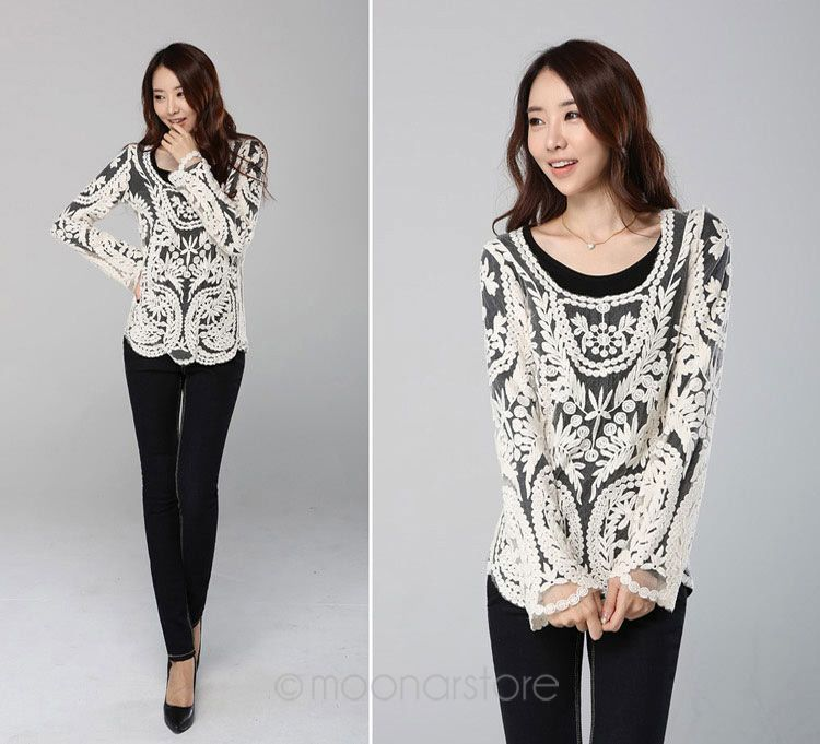 16b7d4e550d 2018 Sexy Women Chic Sheer Lace Nets Flower Round Neck Long Sleeve Smocks T  shirt Tops  0522-in T-Shirts from Women s Clothing on Aliexpress.com