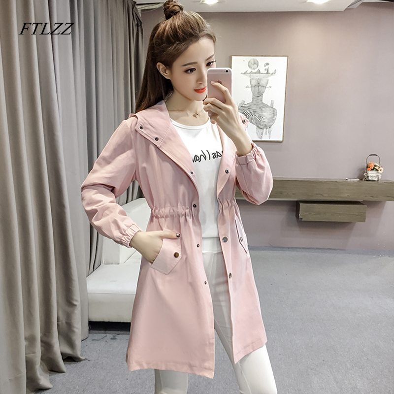 FTLZZ New Autumn Long Coat Women's Windbreaker Bean Green Pink Long Sleeve Hooded   Trench   Coat Women Overcoat Female Coats