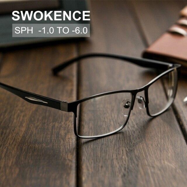 Diopter-1-1.5-2-2.5-3-3.5-4-4.5-5- 5.5-6 סיים קוצר ראייה משקפיים נשים גברים כיכר מסגרת קצרי רואי משקפיים F194