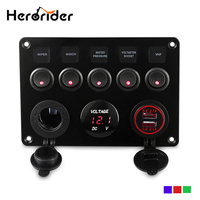 5 Gang ON OFF Car Toggle Switch Panel 4.2A Dual USB Socket Charger LED Voltmeter Cigarette Lighter Boat Marine Truck Switches
