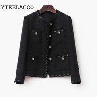 Black tweed women jacket spring / autumn / winter woolen coat new Wool classic jacket Ladies