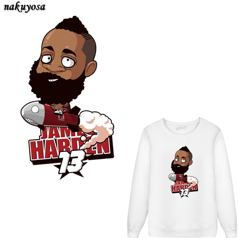 5pcs Personality cartoon basketball James Harden Iron On T-shirt Washable Stickers Clothes DIY Printing Christmas Gift