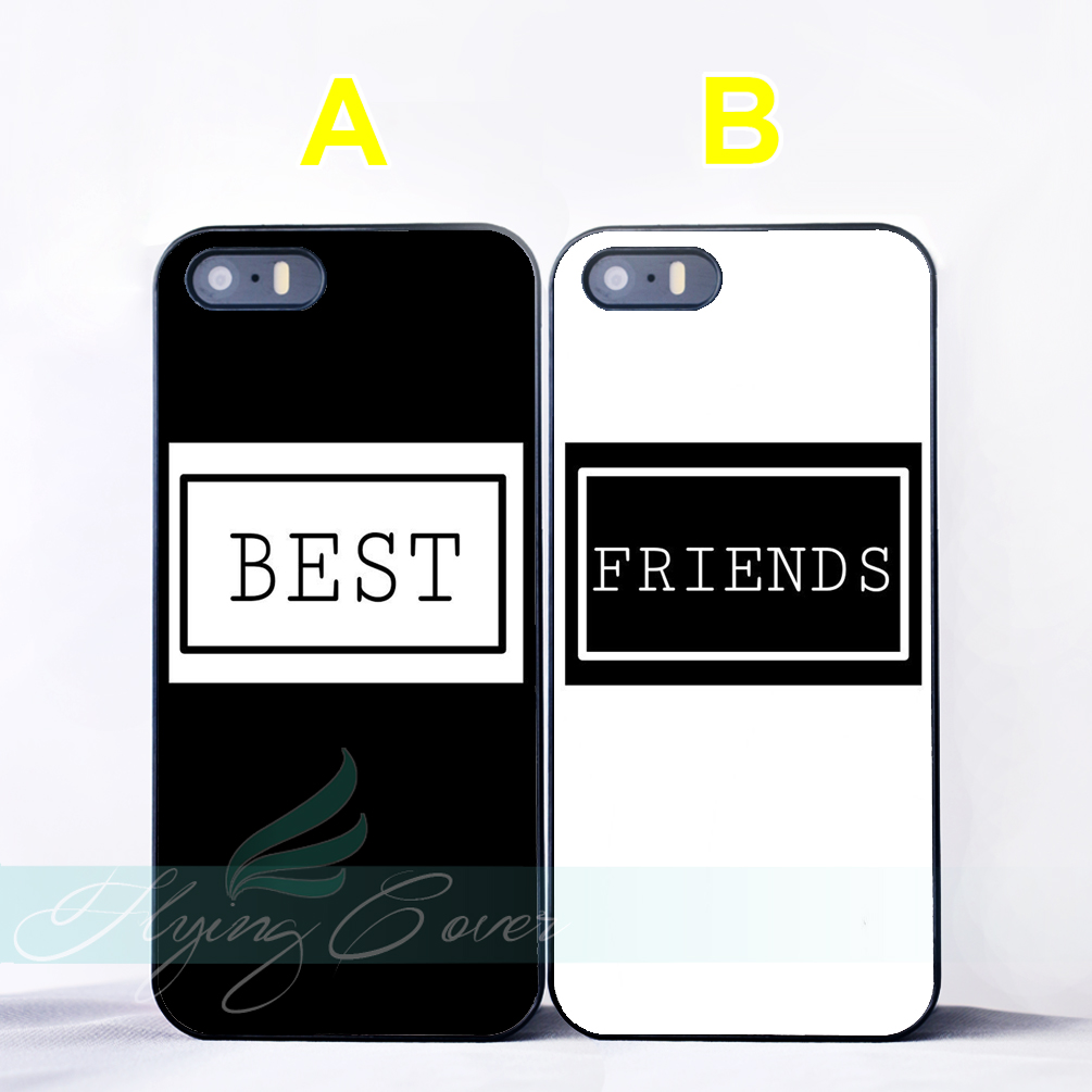 Coque Black Best Friend Quotes BFF Couple Cases for iPhone X 8 8Plus 7 6 6S 7 Plus SE 5S 5C 5 4S 4 Case for iPod Touch 6 5 Cover
