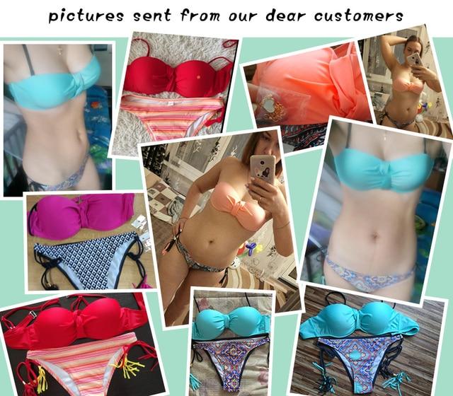 Sexy Solid Push Up Bikini 2018 Women Swimsuit Tassel Print Bottom Bikini Set female Biquini Bathing Suit Bandage Beach Swimwear 5