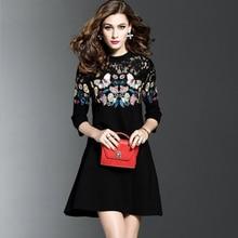 2019 Women's Clothing Fashion Embroidered Dress Embroider Temperament Shows Thin Women Plus Size Dress O-Neck Mini Black Dress