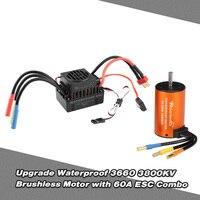 Waterproof ESC 60A + 3660 3800KV Metal Waterproof Brushless Motor Combo Set for 1/10 RC Car Parts