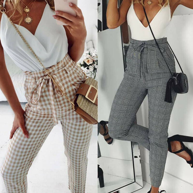 Fashion Casual Women High Waist Belt Casual OL Office Long Pencil Pants Check Plaid Trouser