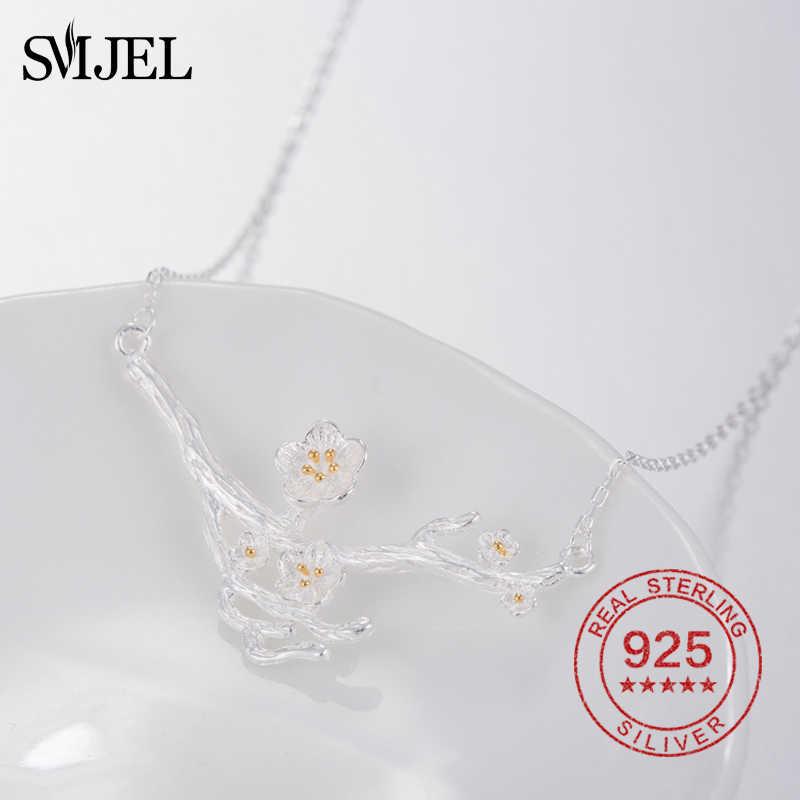 SMJEL 100% 925 Sterling Silver kwiat naszyjniki i naszyjniki kwiat wiśni Daisy urok natura biżuteria prezenty dla matki