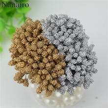 12pcs/lot Mini Gold silver Artificial Stamen Bud Bouquet Leaf flowers For Home Garden Wedding Car Decoration Box Crafts Supplies