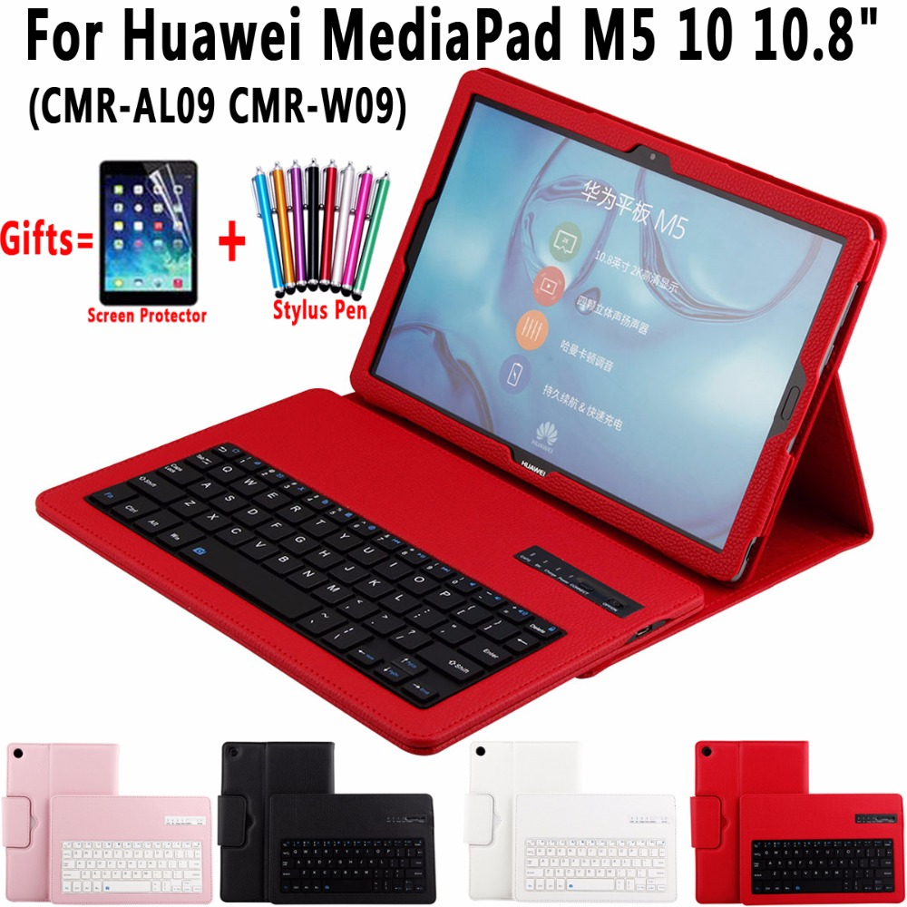 Litchi Pattern Removable Bluetooth Keyboard Leather Shell Cover Case for Huawei MediaPad M5 10 10.8 inch Coque Capa Funda silicone with bracket flat case for huawei mediapad m5 8 4 inch