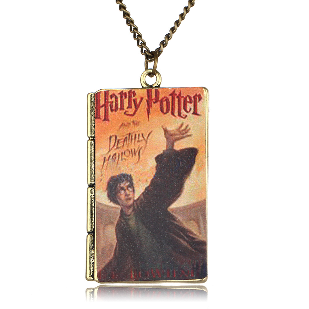 Movie Harry Potter Hogwarts School Square Magic Book Series Pendant Necklace For Men Women Tiestyle Gift Jewelry Gift