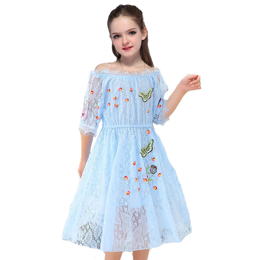 Girls Dress Summer Shoulderless Wedding Party Dress Baby Kids Tulle Princess Lace Dress Clothes Floral Cut Dress 4 6 7 8 Years ems dhl free 2018 new lace tulle baby girls kids sleeveless party dress holiday children summer style baby dress valentine