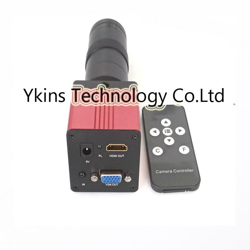 1080P 60FS 2 in 1 HDMI VGA Digital industry microscope camera with IR remote control +8X-130X C-Mount lens for electronic repair industry vga camera with remote control 130x c mount glass lens for industry lab microscope camera cctv