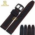 Силиконовой резины watchband браслет браслет 20 мм 22 мм 24 мм водонепроницаемый черный с ремешок наручные часы группа