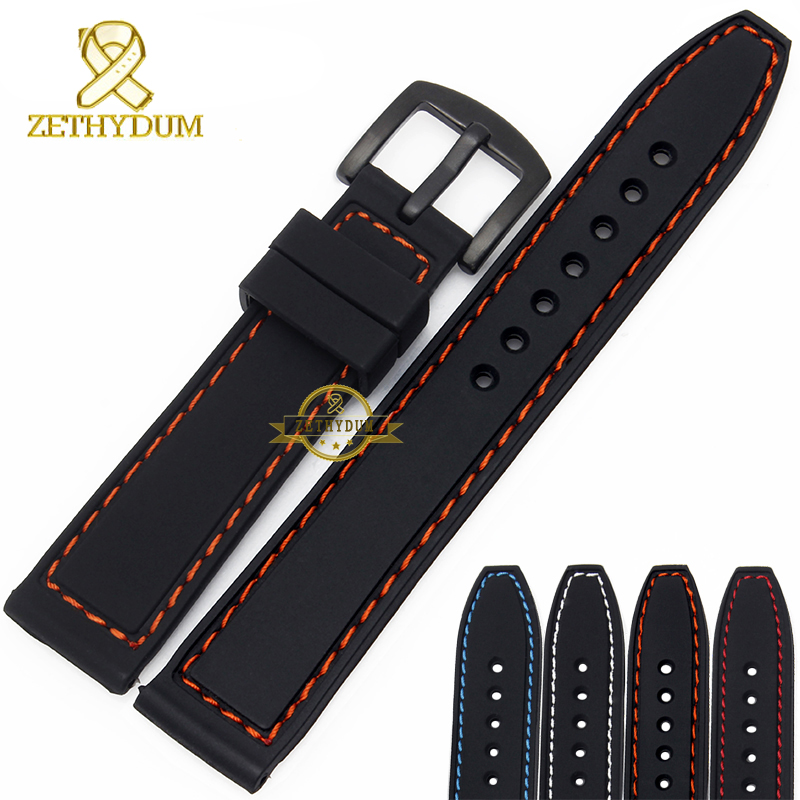 все цены на Silicone rubber watchband wristband bracelet 20mm 22mm 24mm waterproof black with stitched Watch strap wristwatches band онлайн