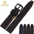 Silicone rubber watchband wristband bracelet 20mm 22mm 24mm waterproof black with stitched Watch strap wristwatches band