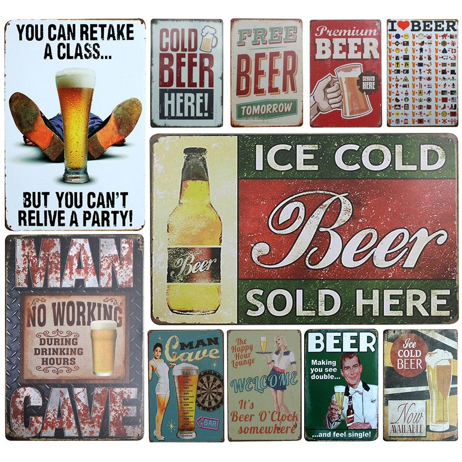 Wholesale Beer Theme Metal Tin Sign Vintage Home Decor Tin Sign 8x12 Metal Sign Bar/Pub Wall Decor Metal Plaque Metal Poster