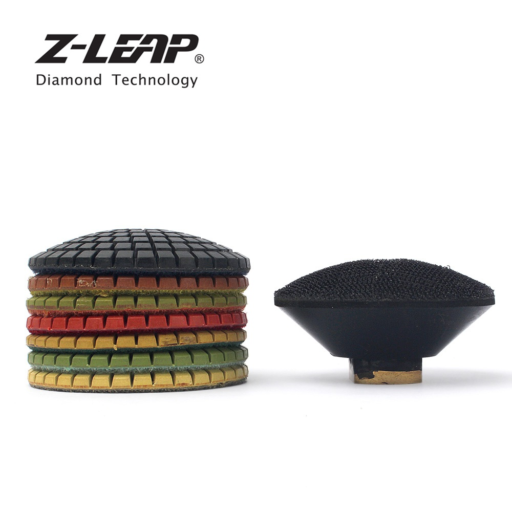 Z LEAP 3 Inch 7pcs Convex Wet Diamond Polihsng Pads With 1 Piece Rubber Backer M14
