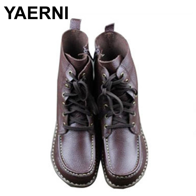 YAERNI Women's Boots Genuine Leather Fashion Boots Round toe Mid-calf Zip Boots Hand-made Leather Woman Shoes Female Footwear riding boots chunky heels platform faux pu leather round toe mid calf boots fashion cross straps 2017 new hot woman shoes