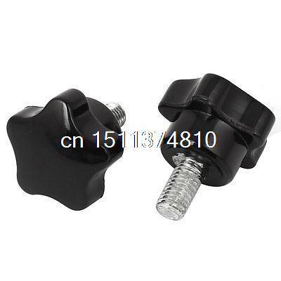 2 Pcs M8 x 15mm Thread 32mm x 37mm Star Shaped Head Clamping Screw Knobs Grips m8 x 40mm male thread 32mm star head dia screw on type clamping knob 8 pcs