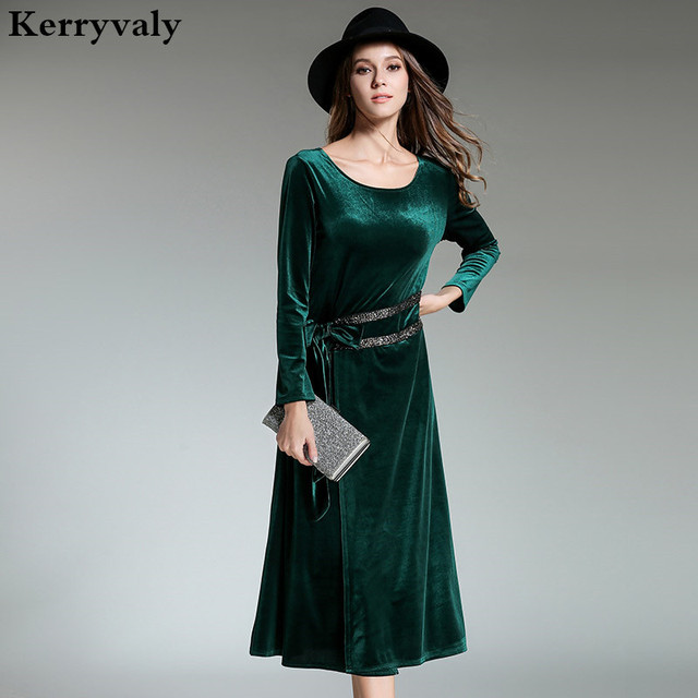 Winter Womens Dresses New Arrival 2018 Robe Hiver Long Sleeve Green ...