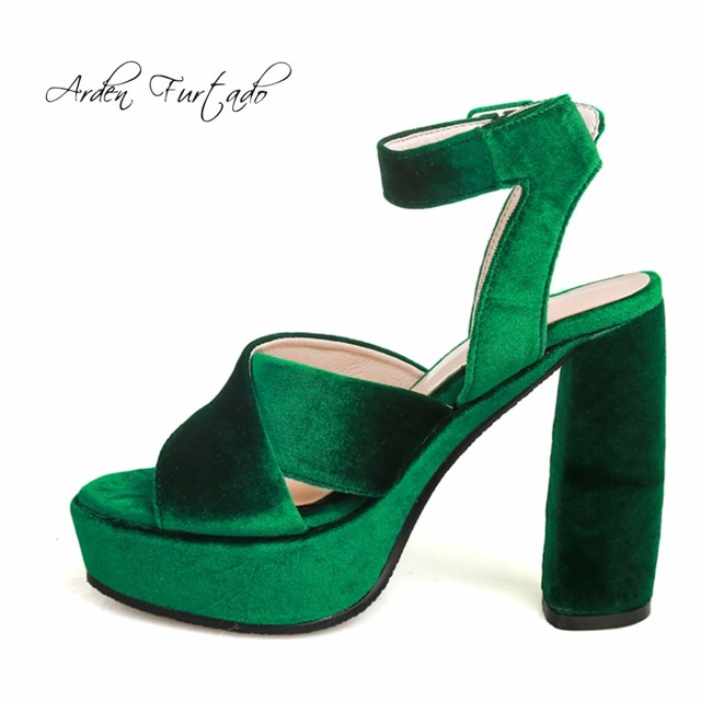 new 2017 summer shoes for woman velvet sandals 13cm extreme square high heels plus size platform bule green red ankle-wrap shoes