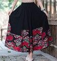 Mujeres Vintage impreso Behemian faldas de algodón de lino falda larga Maxi mujeres de negro ocasional de la falda faldas jupe longue saia longa