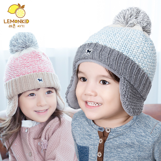 932fb68034d kids winter hats knitted baby boy hat kids hat cap baby warm cap scarf  gloves girl children woolen earflaps hat Free shipping