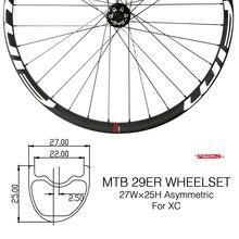 27mm szeroki asymetryczny węgla rower górski XC/Trail koła przez oś Clincher bezdętkowe 29er Hookless MTB koła