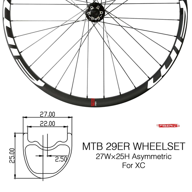 Bicicleta de Montaña de carbono XC/Trail wheels, con cubierta de eje pasante, sin tubo, 27mm de ancho