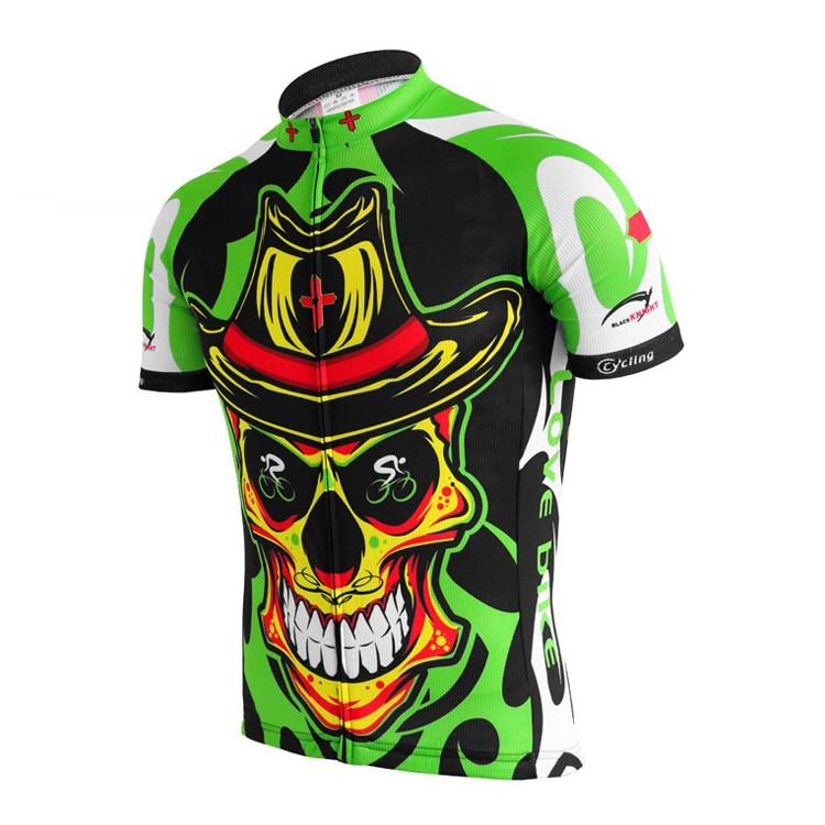 IRONANT Bike Shirt Skull Bycicle Cycling Jersey Short-Sleeve Maillot Breathable Light