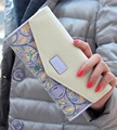 2015 Cuero Del Sobre Carpeta de Las Mujeres del Color del Golpe 3 Fold Flores Impresión Carpeta Larga Del Embrague de Las Señoras Monedero Diseñador de la Marca Billetera
