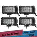4pcs 60w Offroad LED Work Light Bar 6.5'' Driving Fog Lamp Boat Car Truck 4x4 AWD SUV ATV Trailer Auxiliary Headlight Spot Flood