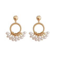 Elegant pearl simple geometric  earrings new joker Korea fashion Female pendant