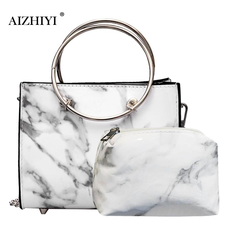 2pcs/Set Women Marble Patent Handbag Chain Leather Ring Zipper Fashion Crossbody Messenger Bag Purse Clutch Shoulder Bag 2019
