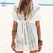 2017 New Beach Bikini Cover Up White Lace Swimsuit Cover Up Summer Crochet Beachwear Bathing suit Cover Ups Beach Tunic Swimwear