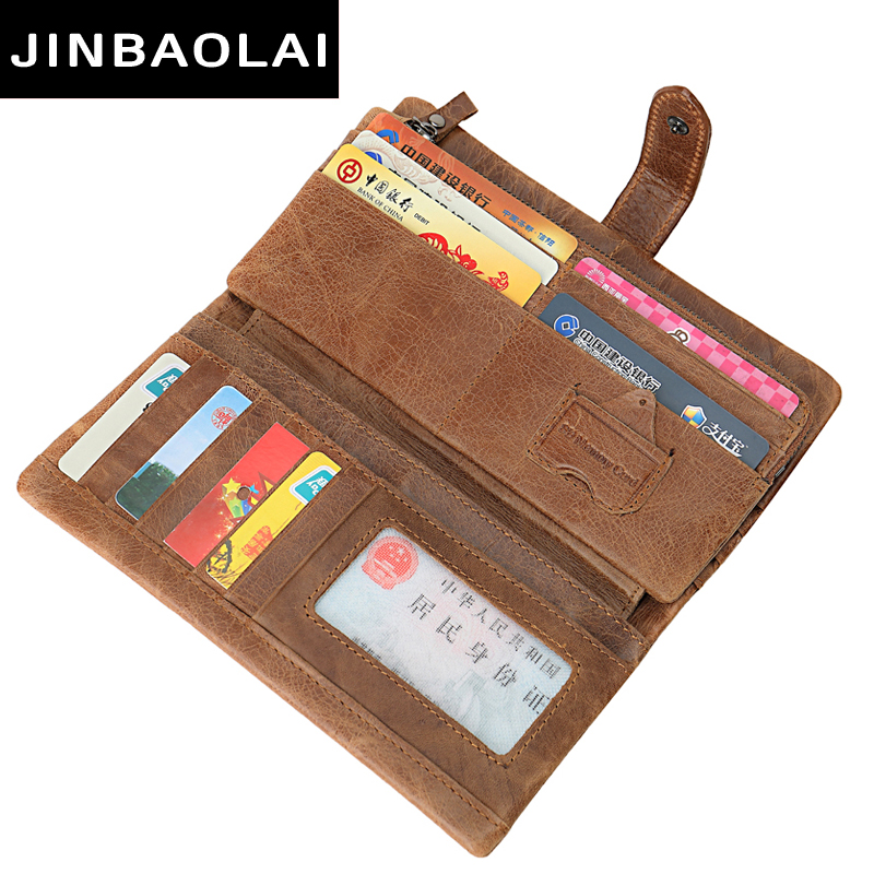 Luxury Brand 100% Genuine Cowhide Leather Portomonee Vintage Walet Male Wallet Men Long Clutch with Coin Purse Pocket Rfid Walet contact s short genuine leather men wallets cowhide purse small clutch vintage famous brand wallet designer dollar price walet