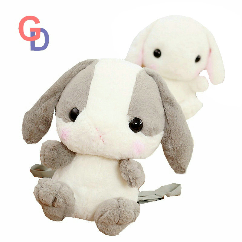 45cm Big Ears Rabbit Plush Toys for Children Grey and White Cute Bunny Backpack Birthday Present School Shoulders bag 70cm rabbit plush animal kawaii bunny toys lovely dolls easter plush bunny dolls birthday gift flower rabbit toys plush doll