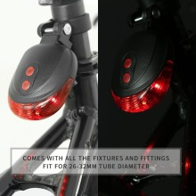 5 LED Laser Cycling Bike Light 3 Modes Flash Safety Rear Lamp Waterproof Laser Tail Warns Flashing for 26-32mm Tube Diameter
