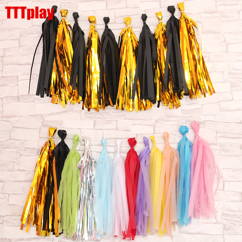 5pcs Tissue Tassels Balloon Banner For Mickey Mouse Birthday Party Decoration Baby Shower One Year Old Yellow Black Red White