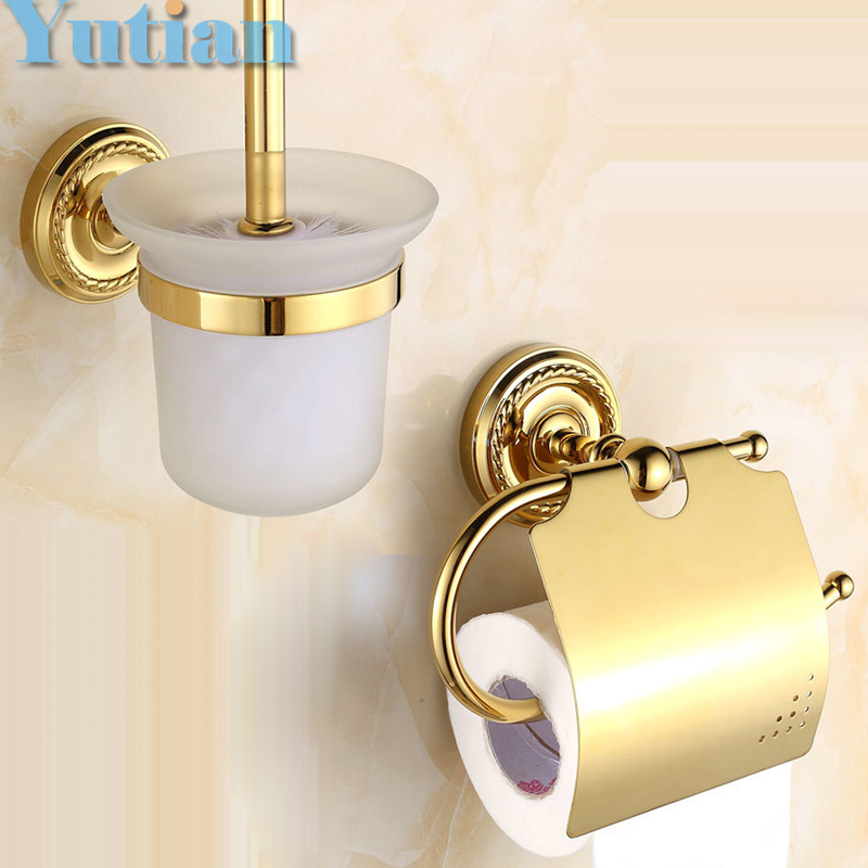 Free shipping,solid brass Bathroom Accessories Set,Paper Holder, toilet brush holder,bathroom sets,gold color YT-12200G-2 free shipping solid brass bathroom accessories set paper holder toilet brush holder bathroom sets antique brassyt 12200 2