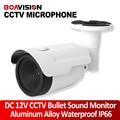 Waterproof Sound Pickup Bullet Microphone DC 12V Adjustable Audio Pick Up For CCTV Camera DVR Aluminum Alloy Outdoor Use IP66
