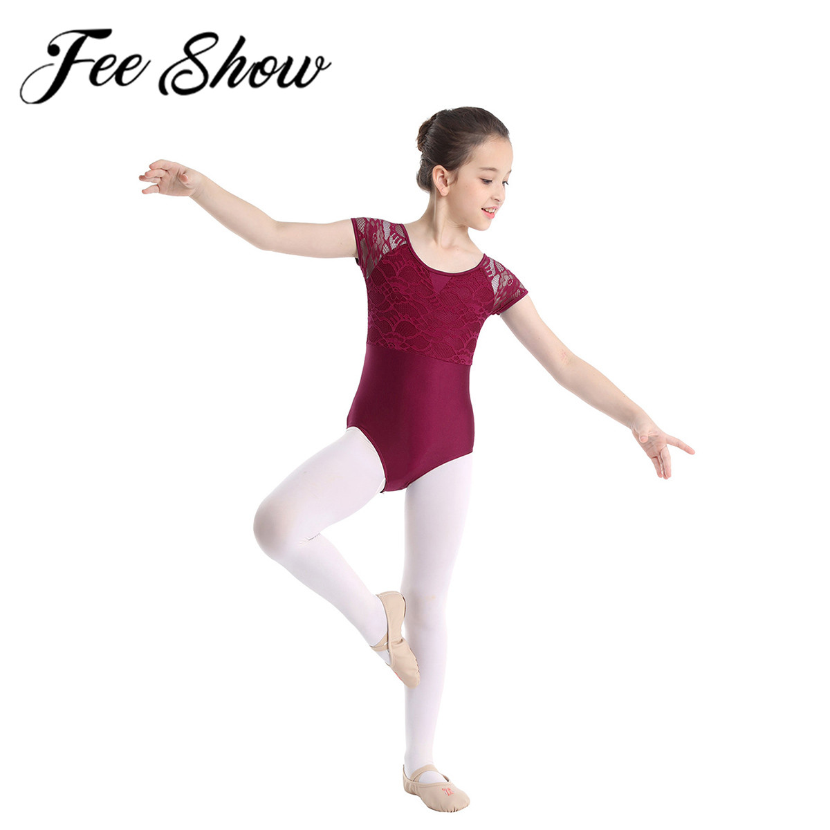 Short Sleeves Jumpsuit Ballet Dance Wear Girls Spandex Bodysuits Leotard Dresses