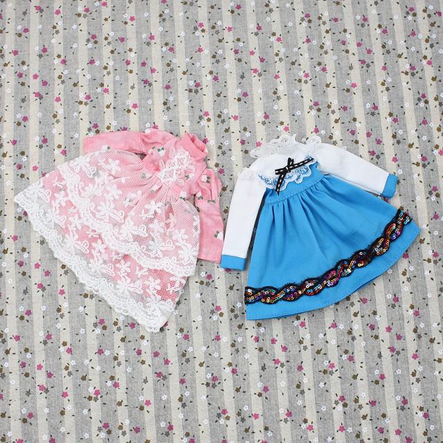 Neo Blythe Doll Pink & Blue Lace Dress