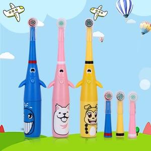 Image 3 - Azdent 3d crianças rotativa escova de dentes elétrica padrão dos desenhos animados para crianças escova de dentes rotativa com 2 cabeças substituição à prova dwaterproof água