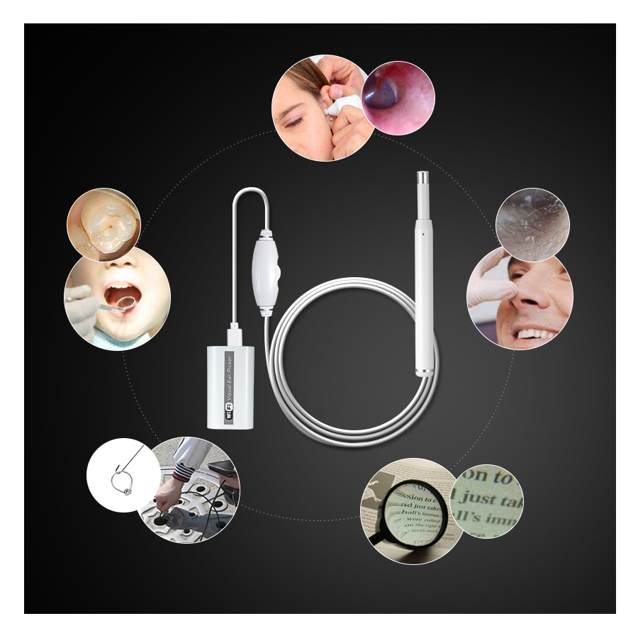 FUERS HD 720P Ear Cleaning Endoscope Camera Mini with 6 Adjustable LED Light for iOS/Android Phone 4