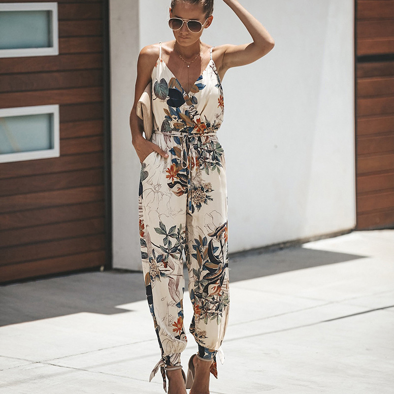 Summer Women   Jumpsuit   Sexy Sleeveless Print Playsuit Female Pockets V Neck Casual Strap Rompers 2019 Fashion   Jumpsuits   Overalls