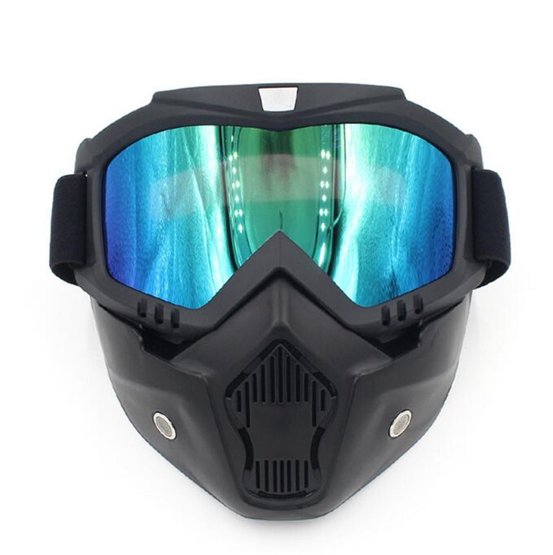Ski Glasses Mask Motorcycle Motocross Goggles Detachable Mask Goggles Mouth Filter For Open Face Helmet Cycling Cafe Racer